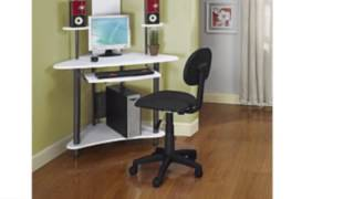 Pewter Finish Corner Workstation Kids Children's Computer Desk