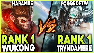 THE #1 WUKONG WORLD AGAINST THE #1 TRYNDAMERE WORLD (HARAMBE VS. FOGGED) - League of Legends