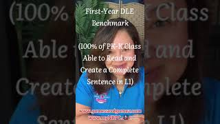 BP#24:First-Year DLE Benchmark (100% of PK-K class able to read and write 1 complete sentence in L1)