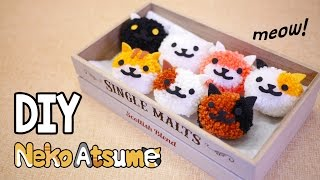 EASY Fluffy Neko Atsume Pom Pom Tutorial - Fun & Cheap DIY (Free Pom Pom Maker Template)