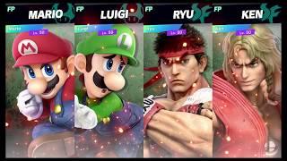 Super Smash Bros Ultimate Amiibo Fights   Request #7817 Mario vs Luigi vs Ryu vs Ken