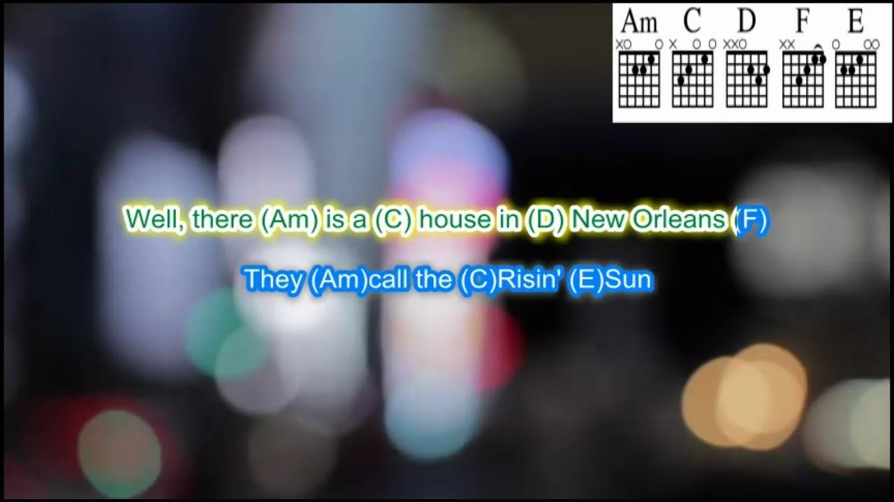 the house of the rising sun by the animals guitar backing track with scrolling chords and lyrics. Black Bedroom Furniture Sets. Home Design Ideas