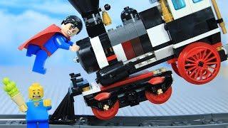 Lego Train Superman vs Joker's Robbery