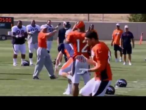 Peyton Manning and Wes Welker dancing at Denver Broncos Practice