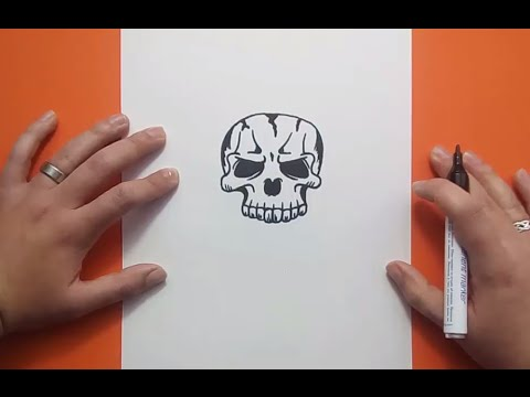 Como dibujar una calavera paso a paso 17  How to draw a skull 17