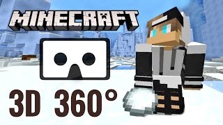 3D VR 360 Video MINECRAFT snowball fight Stereoscopic Stereo 3D