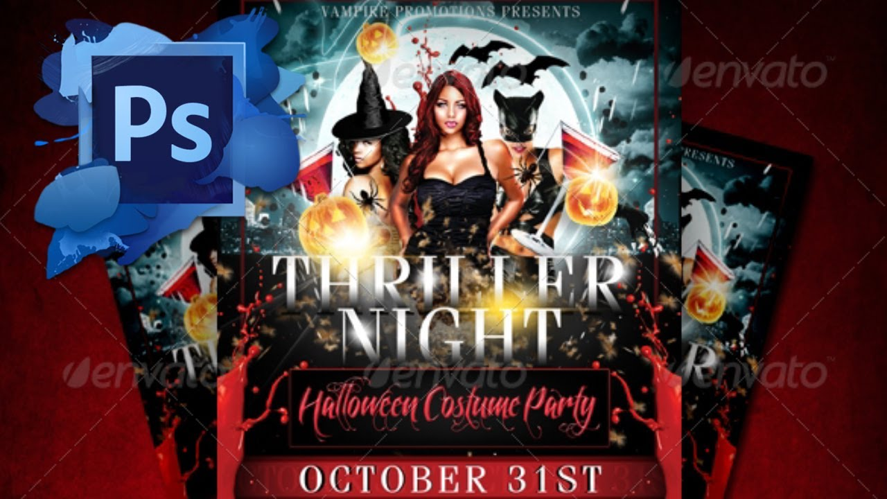 thriller night halloween flyer template free youtube - Free Halloween Flyer Templates
