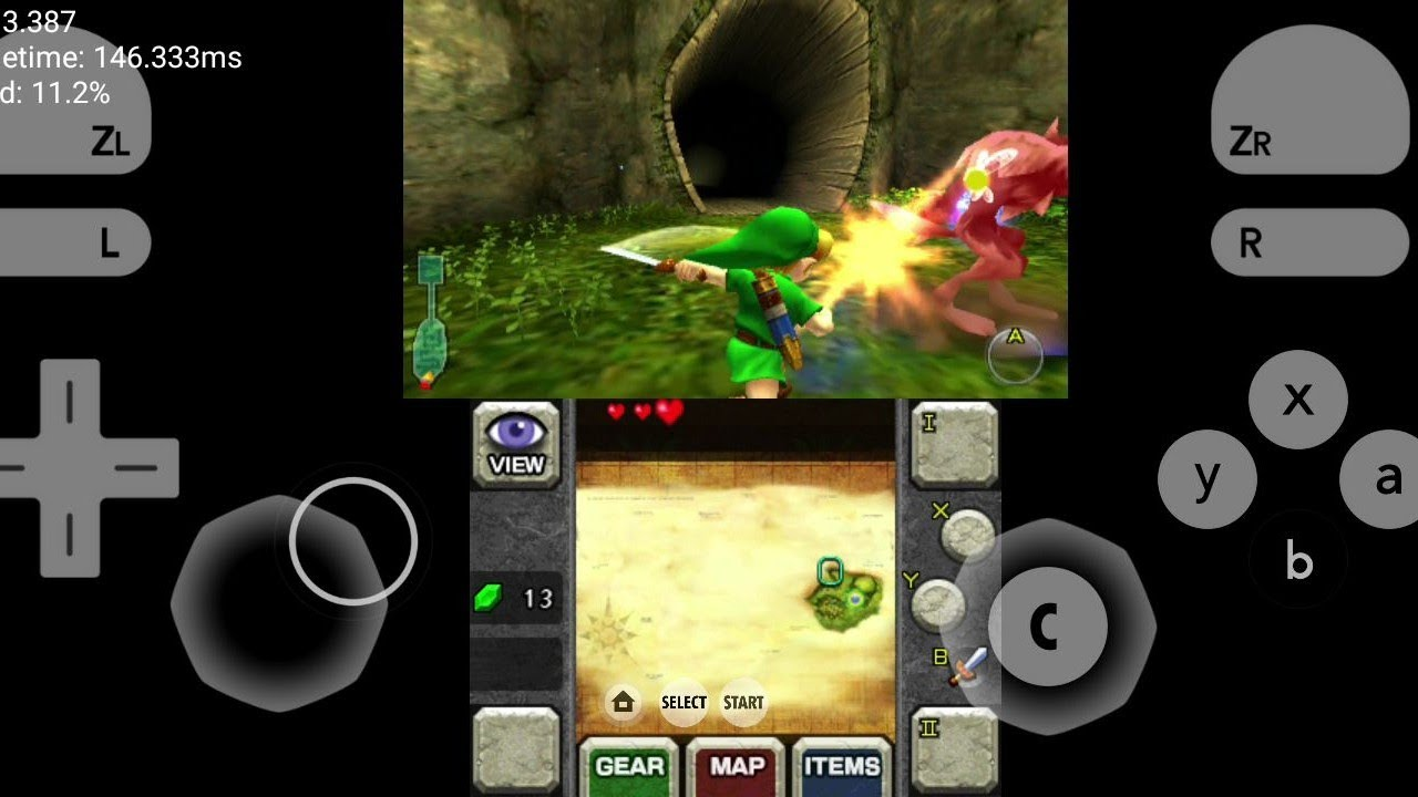 citra 3DS emulator custom build on android - zelda oot 3D - experimental  settings + download