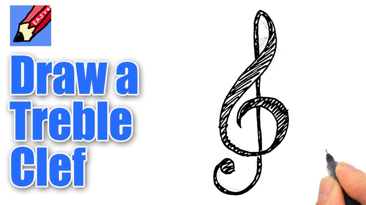 How to Draw a Treble Clef foto