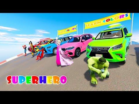 RAINBOW COLORS SUV CARS 3D animation cartoon for kids with Superheroes