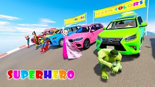 RAINBOW COLORS SUV CARS 3D animation cartoon for kids with Superheroes