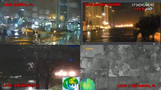 Video Live All Night HURRICANE IRMA COVERAGE LIVE CAMS FROM TAMPA, ORLANDO   10 CAMERA VIEW