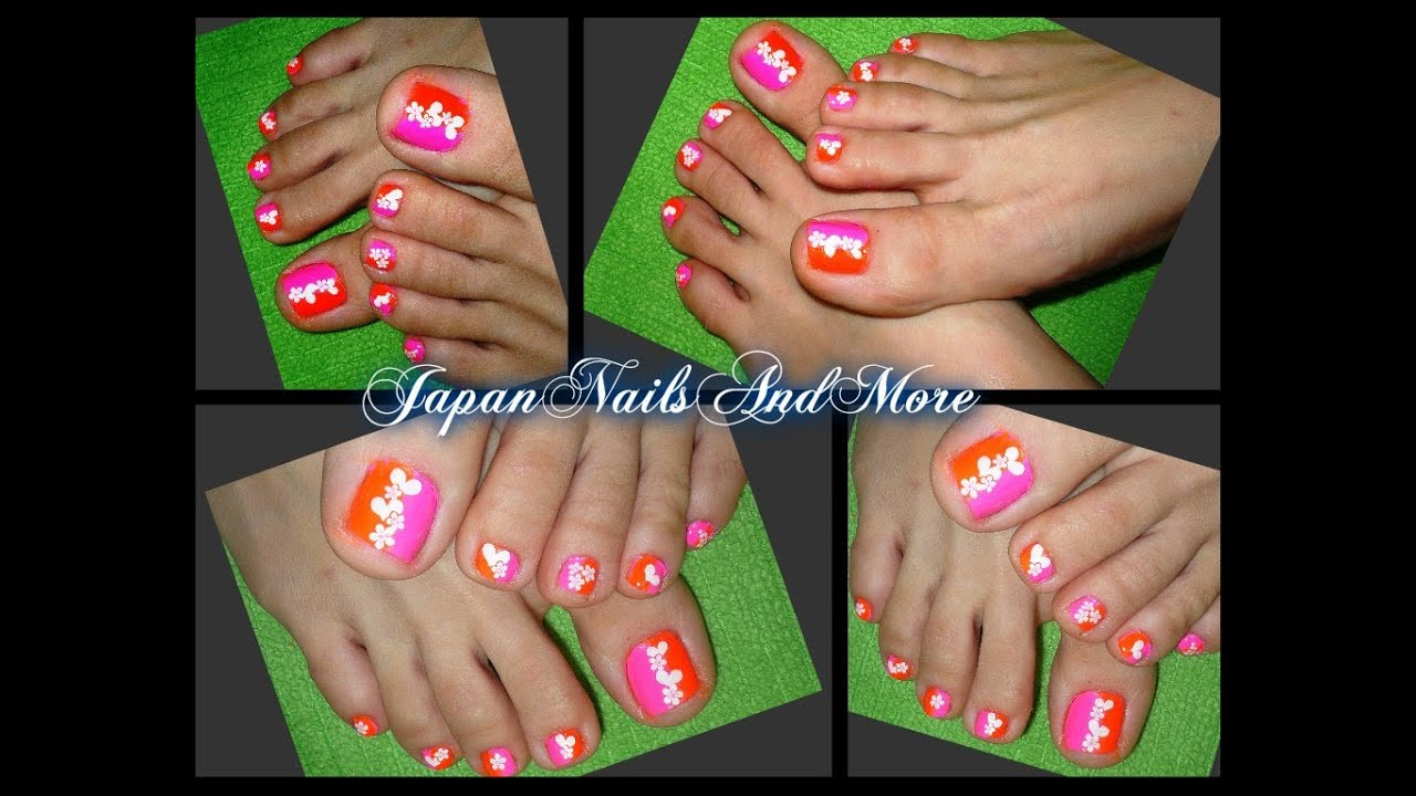 Simple Heart And Flower Sticker Toe Nail Design Youtube