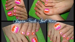 Simple Heart and FLower sticker Toe Nail Design