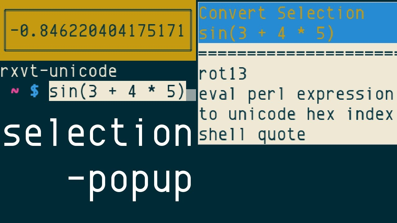 rxvt-unicode (urxvt) selection-popup extension