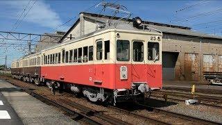 高松琴平電気鉄道・仏生山駅に到着した動態保存列車