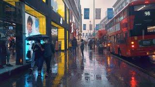 Walking London's SOHO in HEAVY RAIN - Saturday Evening City Ambience