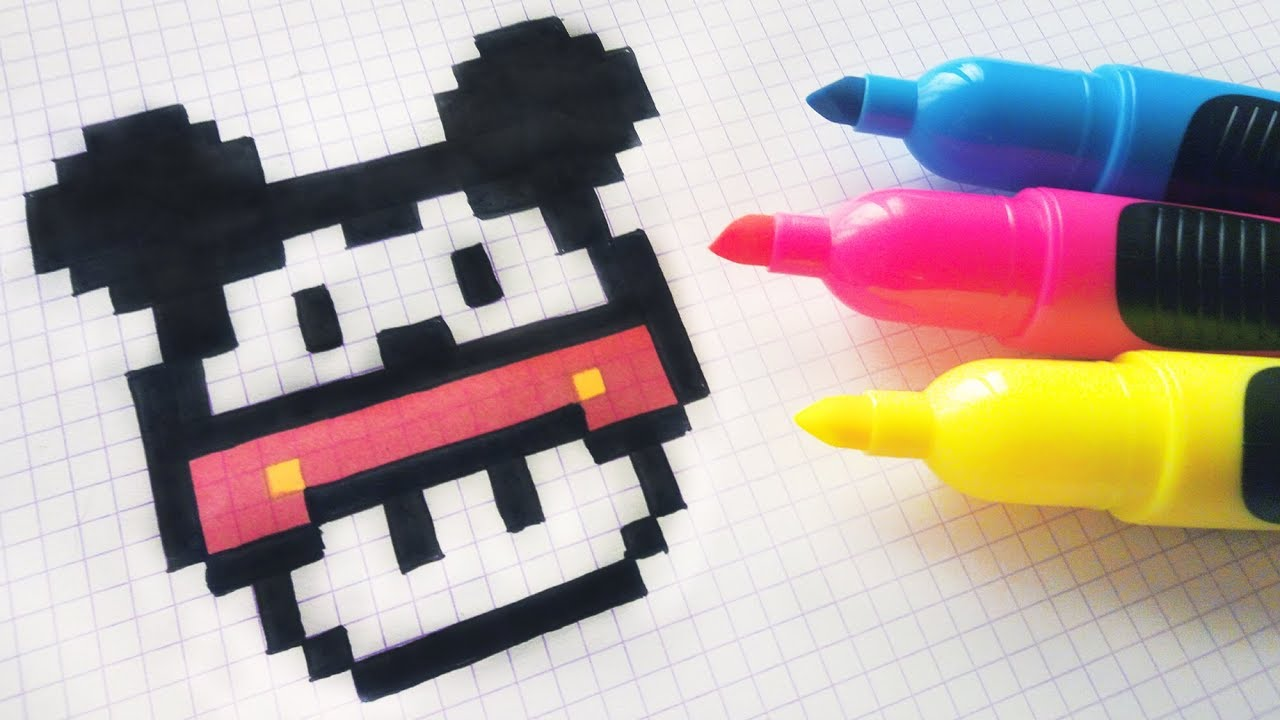 handmade pixel art how to draw a mushroom mickey mouse