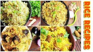 5 Lunch time Rice Recipes - Egg Dum Biryani / Baby Corn Pulao / Dolekia Biryani / Ghatte PulaoRecipe