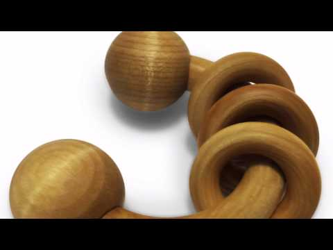 Wooden Teethers by MARY & KATE: Teether Rattle, Eco - Teether, Maple Ring Set, Bib & Teether Set
