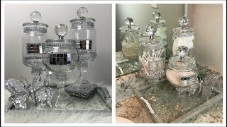 DOLLAR TREE DIY BATHROOM DECOR -  GLAM APOTHECARY JARS AND GLAM CAKE STAND