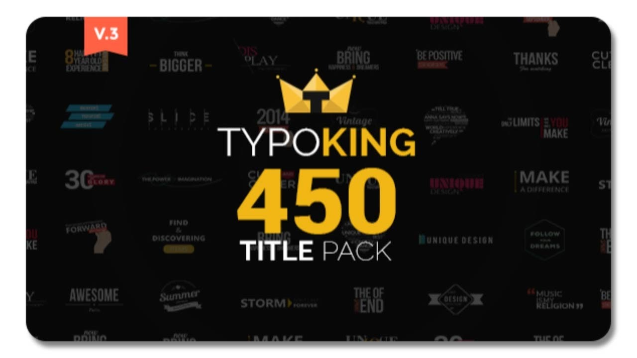 typoking title animation kinetic typography text free