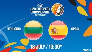 LIVE 🔴- Lithuania v Spain - Round of 16 - FIBA U20 European Championship 2018