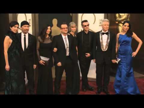 U2 on Oscars 2014 red carpet