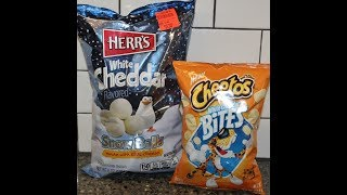 Herr's White Cheddar Snowballs vs Cheetos White Cheddar Bites – Blind Taste Test