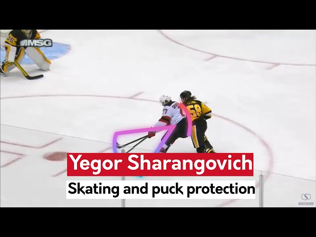 Yegor Sharangovich | Skating and puck protection