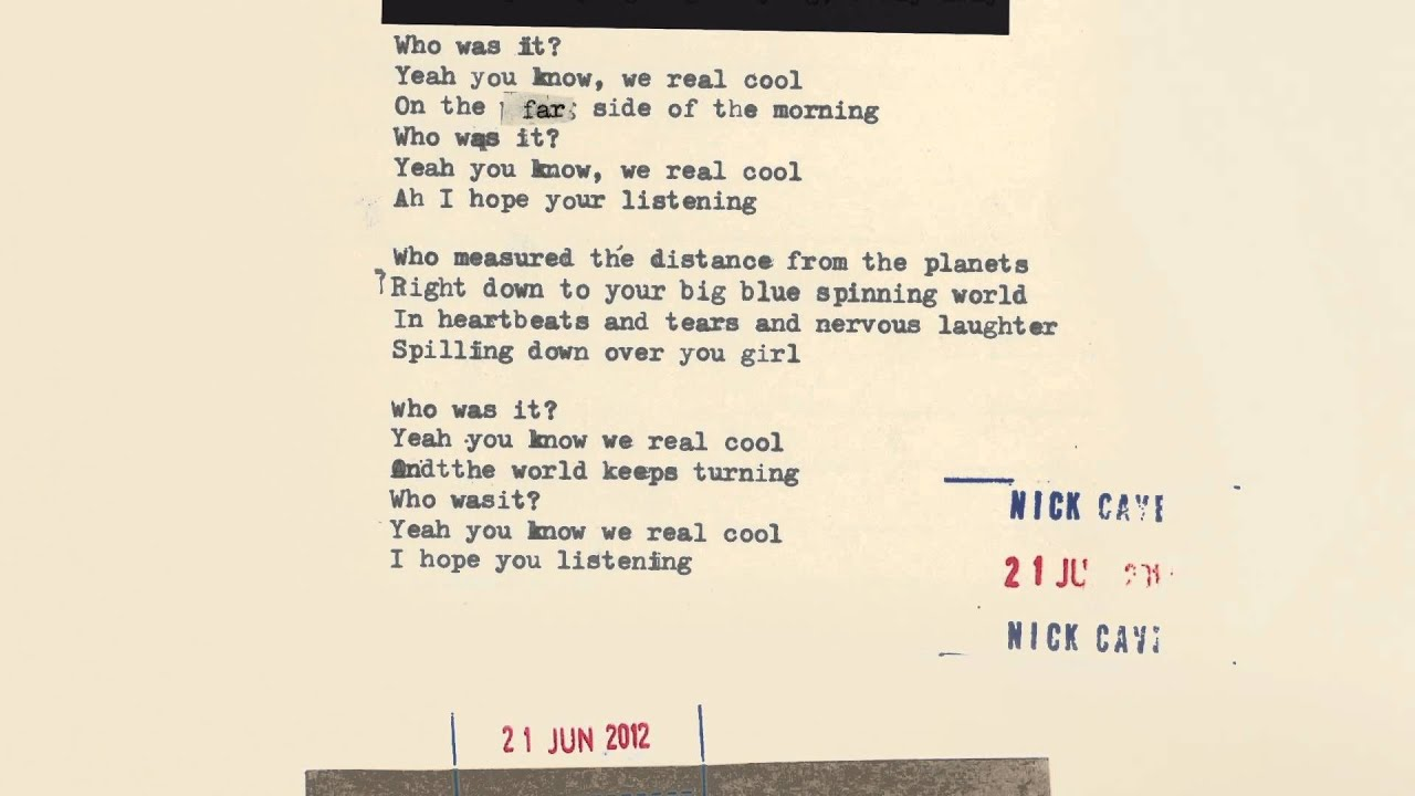 Nick Cave & The Bad Seeds - We Real Cool (Lyric Video) - YouTube