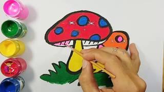 Bé tập vé tập vẽ và tô màu cây nấm | Draw and color mushrooms