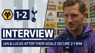 INTERVIEWS | GOALSCORERS LUCAS & VERTONGHEN ON WOLVES WIN | Wolves 1-2 Spurs