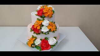ДВУХЪЯРУСНЫЙ торт на ЮБИЛЕЙ Розы и Лилии из БЗК Как украсить двухъярусный торт Красивый торт