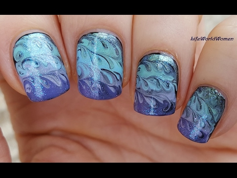 Toothpick Nail Art 19 Blue Purple Dry Marble Design Youtube