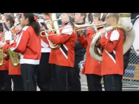 Vandercook Lake Michigan Marching band plays National Anthem at Detroit Tigers game