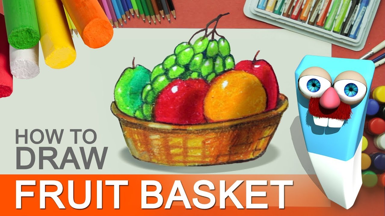 how to draw color a fruit basket with pastel step by step fruit bowl