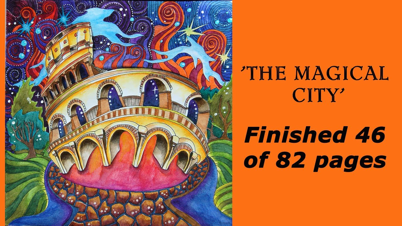 Magical City Coloring Book 46 Finished Pages