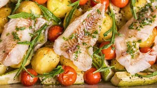 ASMR Cooking Sounds | Baked Fish With Courgettes and Potatoes