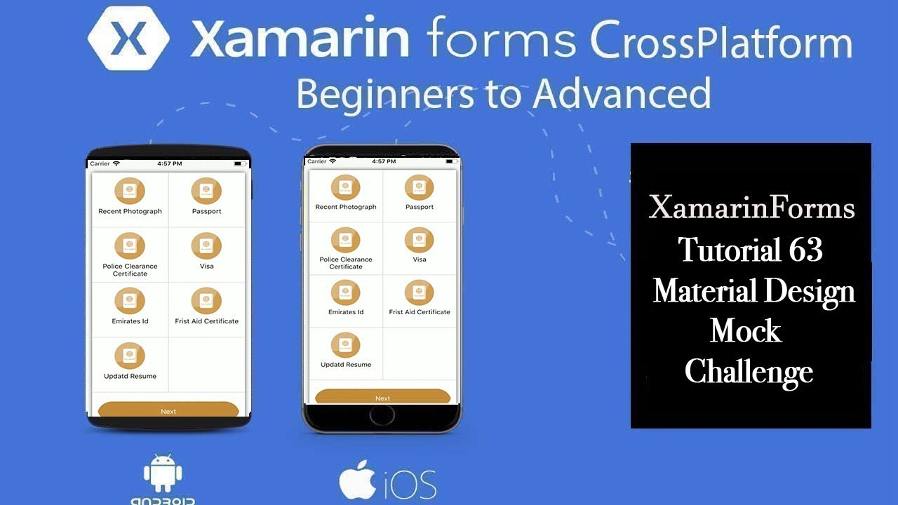 Xamarin Forms Material Design Mock Challenge3[Tutorial 63]