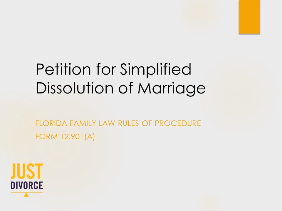 To File A Petition For Simplified Dissolution Of Marriage In
