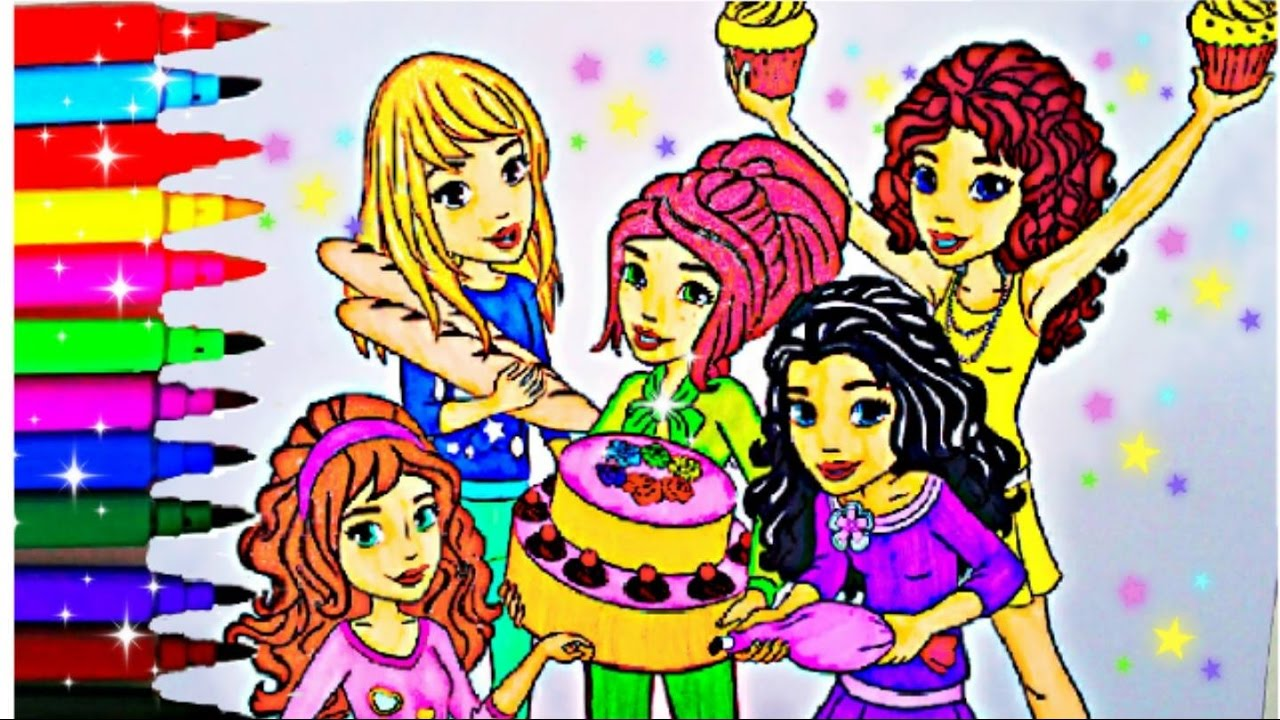 LEGO FRIENDS Coloring Book Pages Lego Mia Emma Andrea Stephani Olivia Kid Balloons Toys Fun Art