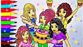 LEGO FRIENDS Coloring Book Pages Lego Mia Emma Andrea Stephani Olivia Kid Balloons Toys Fun Art