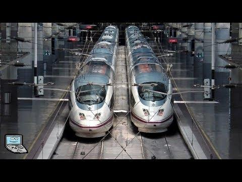 "Madrid Puerta de Atocha mit/con renfe AVE serie 103 (""ICE 3 in lila""), serie 112 (Talgo 350)"