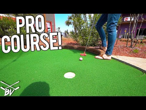 TAKING ON A PROFESSIONAL MINI GOLF COURSE! - MINI GOLF HOLE IN ONE AND MORE!
