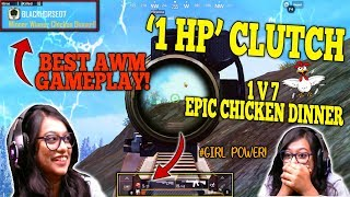You will never underestimate a GIRL GAMER after watching this! 1 HP CLUTCH! AWM AND M416 GAMEPLAY!