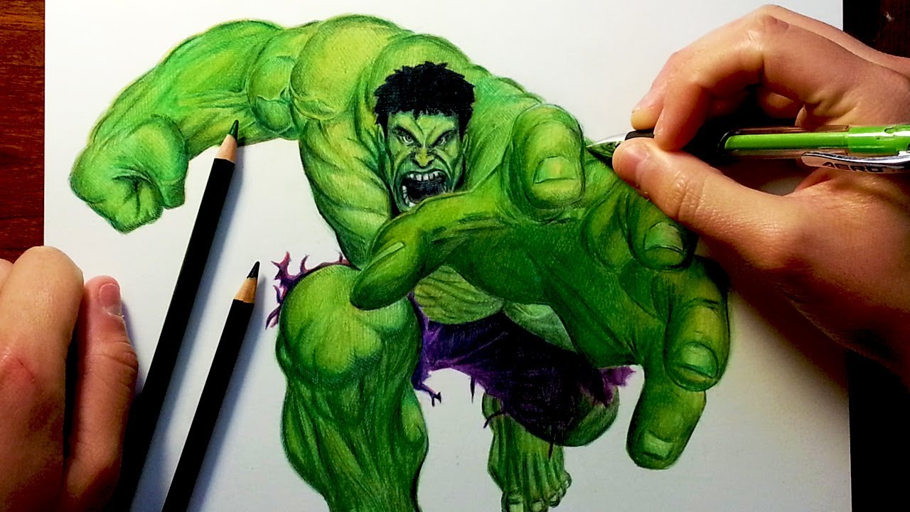 Beautiful THE HULK Before U0026 After Drawing   YouTube