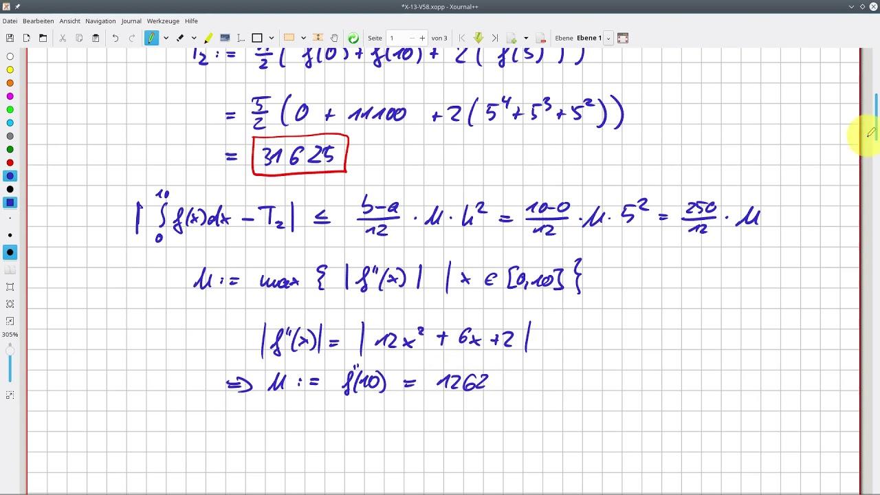 Download Analysis Integrale: Wie man die Trapezformel anwendet (Beispiel) #13-58
