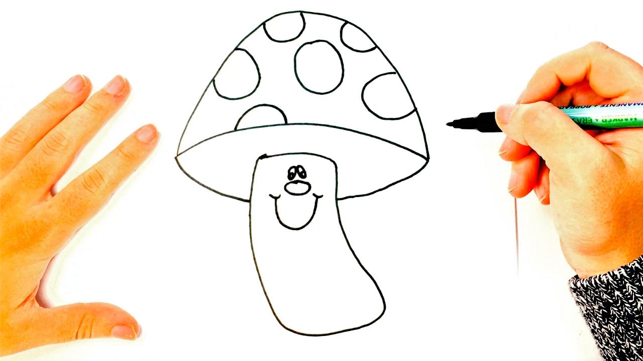 How to draw a Mushroom for Kids   Mushroom Easy Draw Tutorial