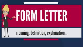 What Does FORM LETTER Mean Meaning Definition